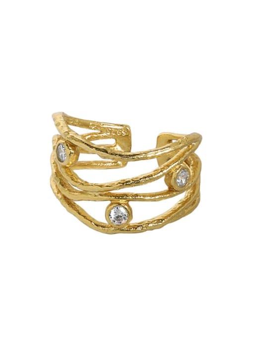 18K gold [13 adjustable] 925 Sterling Silver Cubic Zirconia Irregular Vintage Stackable Ring